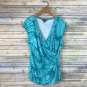 Tommy Bahama Bright Blue Printed Stretchy Wrap Top