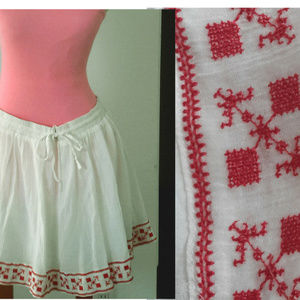 LOOK!! Ally White BOHO Skirt with RED EMBROIDERY