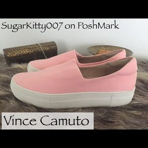 Vince Camuto Pink Canvas Shoes Flats