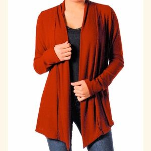 Tops - NEW Burnt Orange Ribbed Drape Cardigan Top