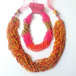 Jewelry - 2 Beaded Royal Statement Necklaces