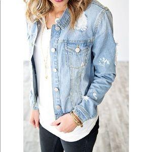 Jackets & Blazers - NWT Denim Jean Bleach Spot Distressed Jacket
