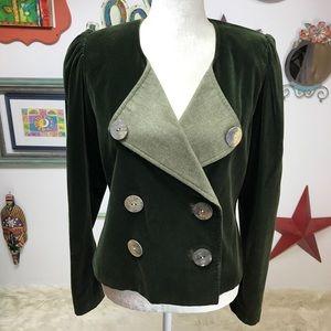 Green Velvet Vintage Victorian Blazer