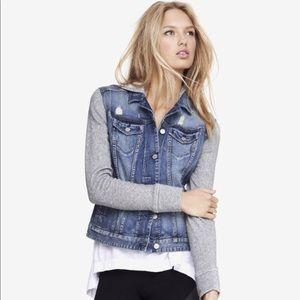 Express Jeans Denim & Gray Hooded Jacket