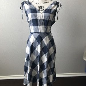 Navy and white gingham summer dress