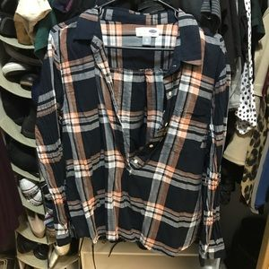 Old navy navy and orange plaid long sleeve top
