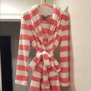 Pink and white stripe robe. Never worn.