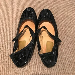Lanvin, black patent leather Mary Jane style flats