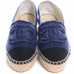 Chanel Blue And Black Cc Denim Canvas Espadrille