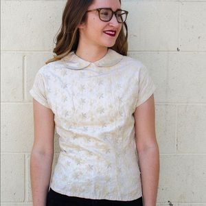Vintage 1950's Cream Embroidered Blouse / Top