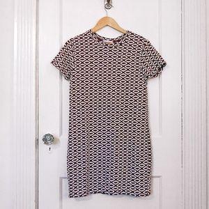 Zara Burgundy Black & White Mini Print Dress - S