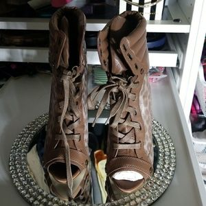 Boutique 9 brown peep toe ankle shoe