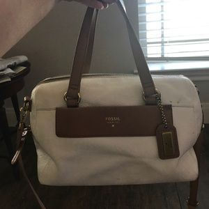White leather fossil cross body