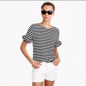 J.Crew ruffle striped short sleeve top size XL