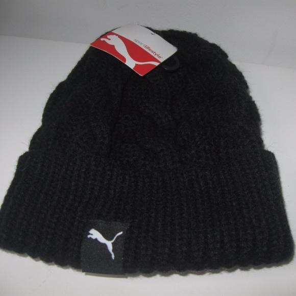PUMA New Black Chunky Cable Knit Beanie Hat Skull 899730f8cbb6