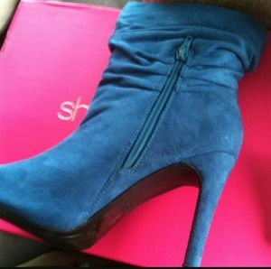 Blue suede heel ankle boots