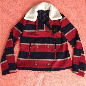 NWT GORGEOUS ANTHROPOLOGIE peacoat sherpa jacket