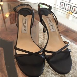 Jimmy Choo black leather strappy heels sz 8.5