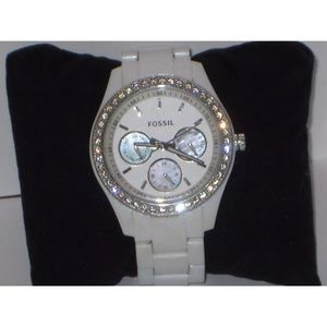 Women's Fossil watch white with white band