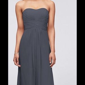 LONG STRAPLESS CHIFFON DRESS FROM DAVID'S BRIDAL