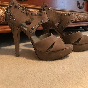 Vince Camuto Taupe Suede Heels with Studs Sz. 8.5