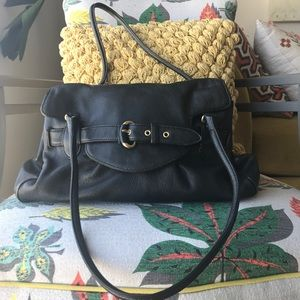 Cole Haan black leather buckle handbag