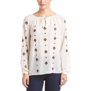 THML Stitch Fix White Embroidered Boho Blouse