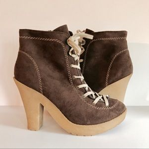 Charlotte Russe lug sole faux suede lace-up boot