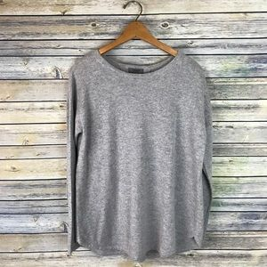 Premise 100% Cashmere Grey Pleated Back Sweater