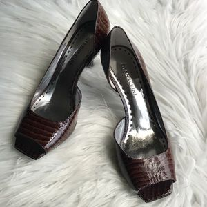 Gianni Bini Brown Tortoise Shell Open Toe Pumps