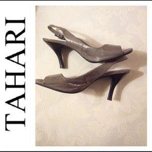 Tahari grey sling back heels