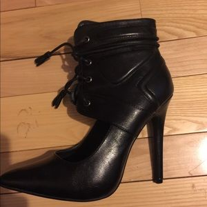 Izabella Rue Black Stilettos with ankle strap