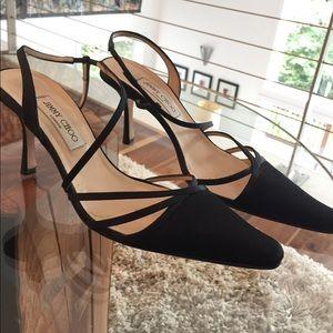 Black satin jimmy Choo strappy dressy heel sz 40/9