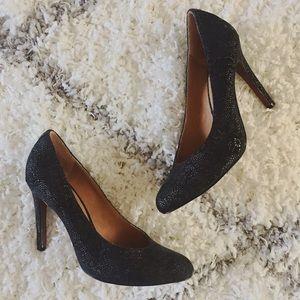 Coach Lace/Snakeskin Navy Heels