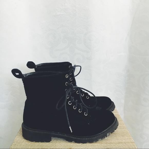 Black Velvet Hm Lace Up Boots | Poshmark