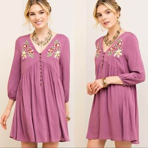 🆕Button-Down Babydoll Dress w/ Floral Embroidery
