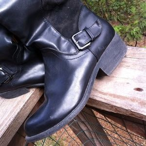 Shoes - Riding boots in black leatherette and swede
