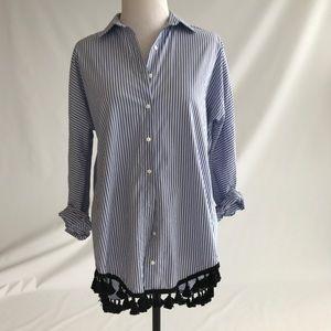 Zara striped shirt with black tassels