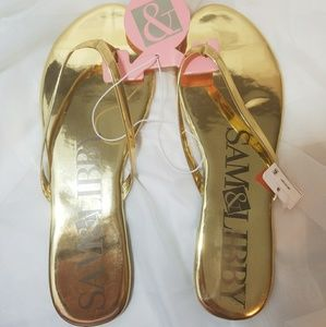 Sam & Libby Gold Flip Flops Size 11