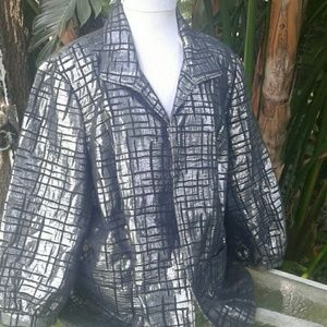 Victor Costa silver and black metallic jacket XL