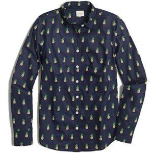 J. Crew Blue Pineapple Button Down Shirt