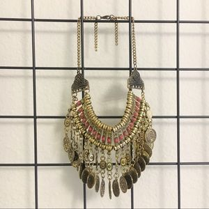 Bohemian coin collar necklace