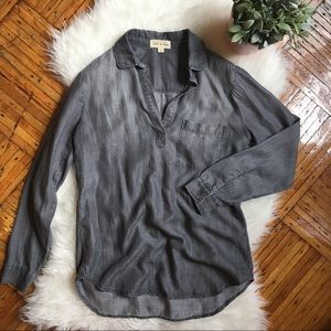 Cloth & Stone Grey Chambray Tunic Top