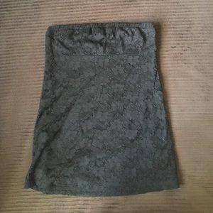 Black lace shoulder less top