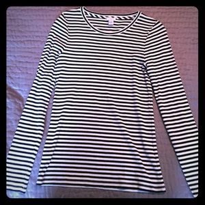 JCrew black and white striped top