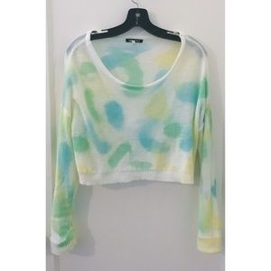 White Blue Yellow Green Long Sleeve Crop Top S/M