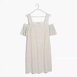 Madewell stripe cold shoulder dress