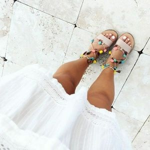 ZARA Leather Lace-Up Sandals