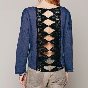 Free People Victorian Lace Pullover in Blue