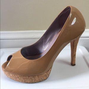 Cole Haan patent leather peep toe heels